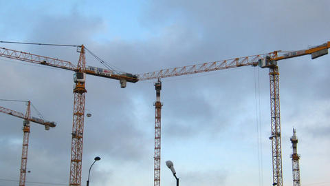 working construction cranes - timelapse Stock Video Footage
