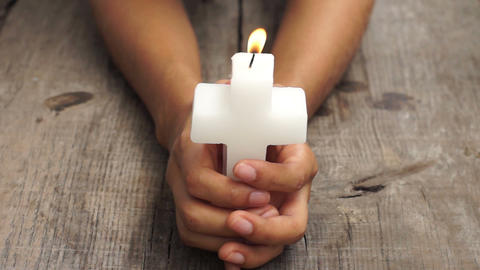 Crucifix candle Stock Video Footage