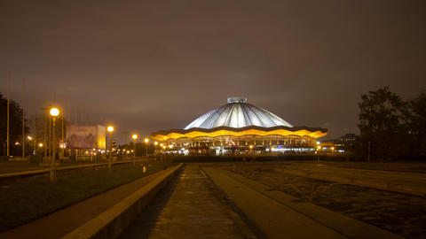 Moscow State Circus night hyperlapse Stock Video Footage