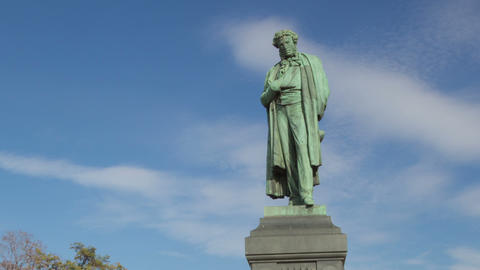 Pushkin monument hyperlapse Stock Video Footage