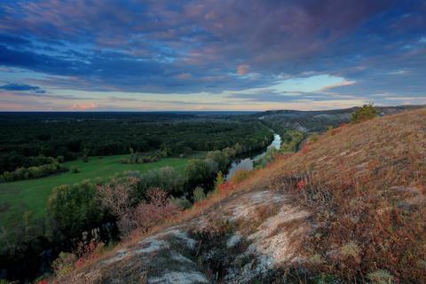 4K. Timelapse sunset on the river Seversky Donets Footage
