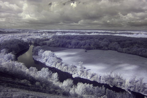 4K. InfraRed landscape: Movement of clouds over th Stock Video Footage