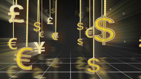 Currency Signs Dangling On Strings Camera Dolly Lo stock footage