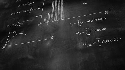 math physics formulas on chalkboard tilting loop Stock Video Footage