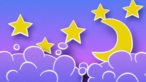 moon stars and clouds loop alpha Animation