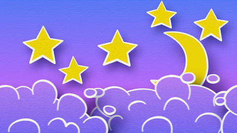 moon stars and clouds loop alpha Stock Video Footage