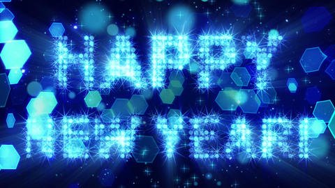 happy new year from blue particles loop Stock Video Footage