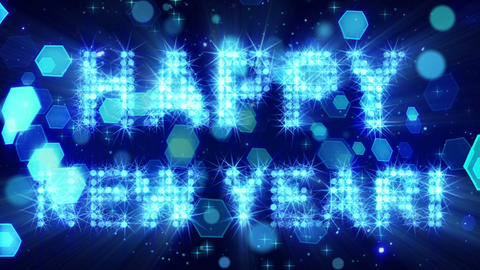 Happy New Year From Blue Particles Loop stock footage