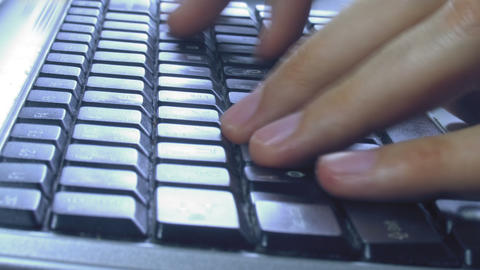 close-up of hands typing on keyboard timelapse Footage