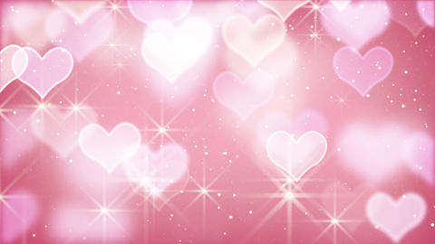 pink bokeh hearts and particles loop Animation