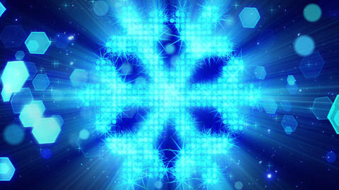 snowflake shape from blue particles loop Animation