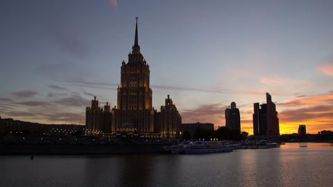 Hotel Ukraina hyperlapse 4K Footage