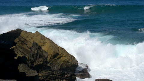 wave chrushing onto rock slow motion 11091 Stock Video Footage