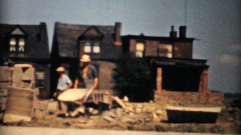 Masons And Bricklayers Working On Housing Project Stock Video Footage