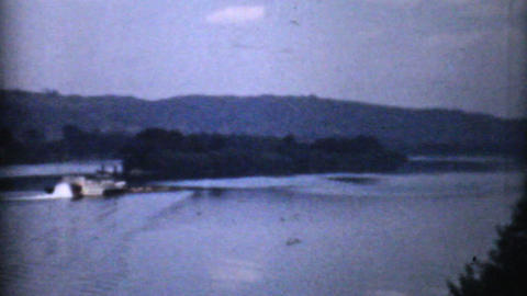 Old Paddlewheel Barge In Ohio 1940 Vintage 8mm Stock Video Footage