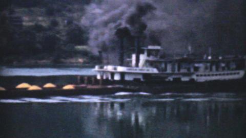 Old Paddlewheel Barge In Ohio 1940 Vintage 8mm Stock Video Footage