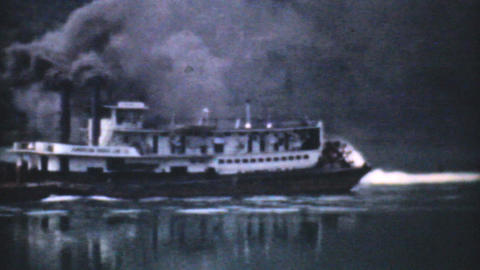Old Paddlewheel Barge In Ohio 1940 Vintage 8mm stock footage