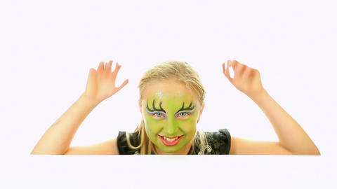 Scary little green girl for Halloween Stock Video Footage
