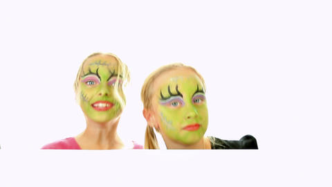 Scary Little Green Girls For Halloween stock footage