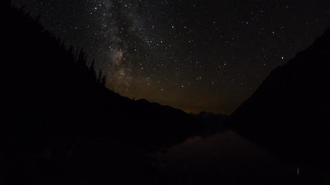 Milky Way Moving Above Duffey Lake, BC, Canada stock footage