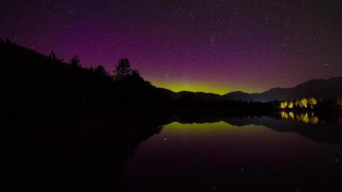 Aurora Borealis night sky at Alta Lake Stock Video Footage
