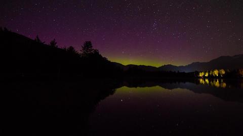 Aurora Borealis night sky at Alta Lake Footage