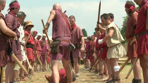 legionary punishment 01 Stock Video Footage