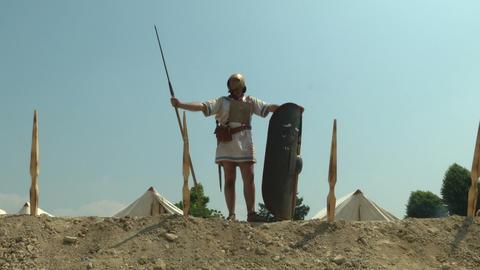 roman camp legionary 02 Stock Video Footage