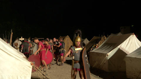 roman camp night 01 Stock Video Footage