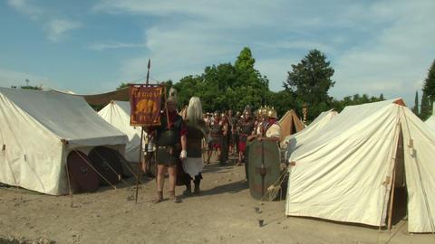 roman legion camp 01 Stock Video Footage