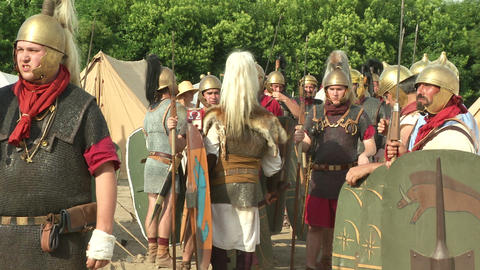 roman legion camp 01 Stock Video Footage
