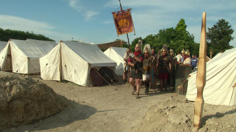 roman legion marching 01 Stock Video Footage