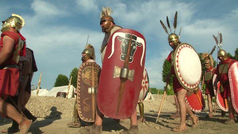 roman legion marching 03 Stock Video Footage