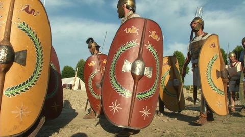 roman legion marching 03 Stock Video Footage