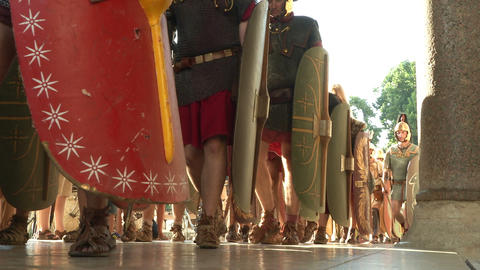roman legion marching 09 Stock Video Footage