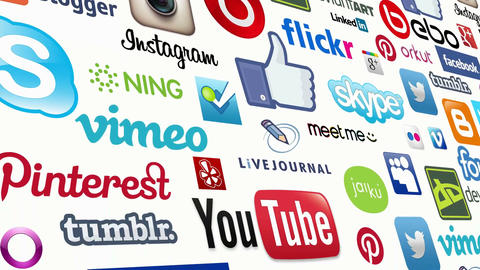 Social Media Logo Loop stock footage