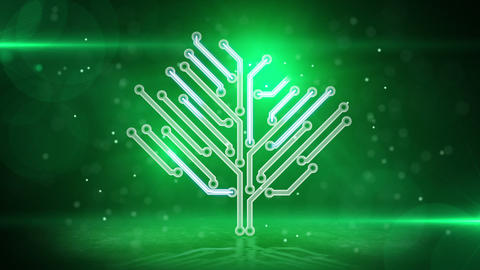 green electronic hi-tech tree loop Stock Video Footage