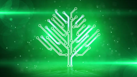 green electronic hi-tech tree loop Animation