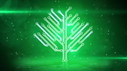green electronic hi-tech tree loop Stock Video Footage