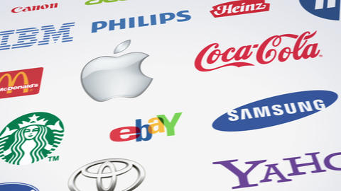 Famous trademarks logotypes panning loop Stock Video Footage