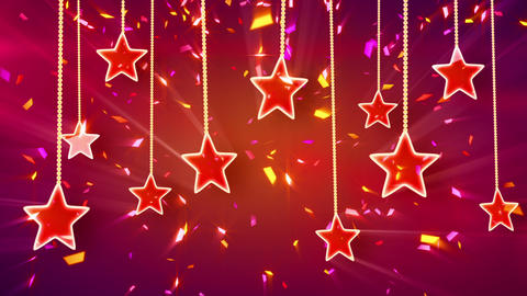 red shiny stars and confetti background loop Stock Video Footage