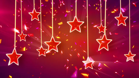 red shiny stars and confetti background loop Animation