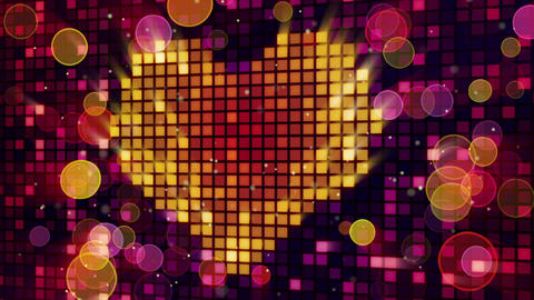 heart shape on digital screen and lights loop Animation