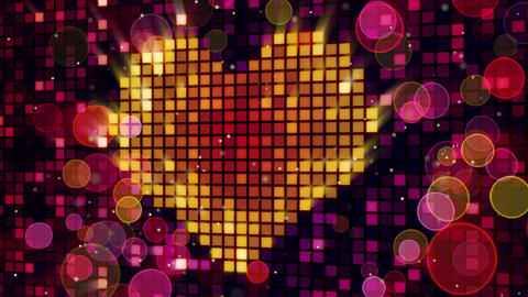 heart shape on digital screen and lights loop Stock Video Footage