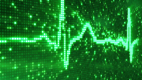 digital pixel EKG pulse green loop Animation