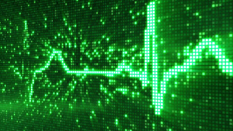 digital pixel EKG pulse green loop Stock Video Footage