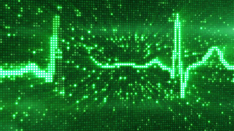 digital pixel EKG pulse green loop Stock Video Footage