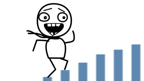 Happy Man And Good Statistics Loop Cartoon stock footage