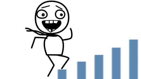 happy man and good statistics loop cartoon Stock Video Footage