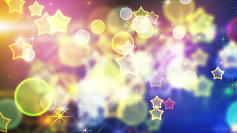 shiny festive background with bokeh and stars loop Animation
